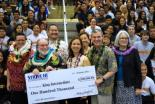 From left to right: King Intermediate Principal Sheena Alaiasa, Governor Neil Abercrombie, Deputy Superintendent Ronn Nozoe, State Sen. Jill Tokuda, Superintendent Kathryn Matayoshi, Hawaii State Board of Education Chairman Donald Horner, and Castle-Kahuku Complex Area Superintendent Lea Albert at the Strive HI Awards ceremony.